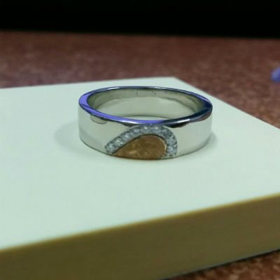 FingerPrints Engraved YellowGold Platinum Heart Ring (3)