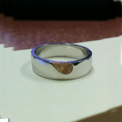 FingerPrints Engraved YellowGold Platinum Heart Ring (4)