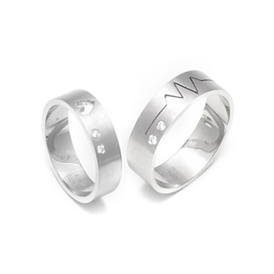 Heart And Soundwave Platinum Couple Rings, platinum bands