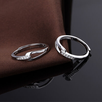 infinity promise silver rings for couples augrav