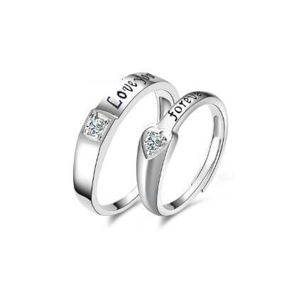Romantic Sterling Silver Couples Ring%0A (1)