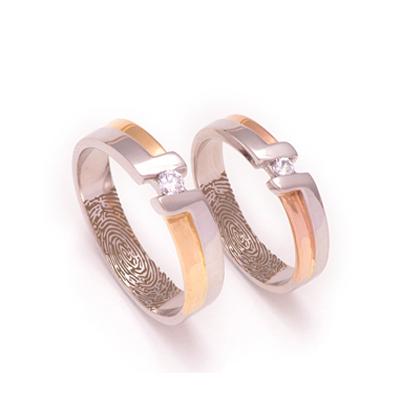 Sarovski Crystal RoseGold Platinum Couples Ring, platinum love bands for couple