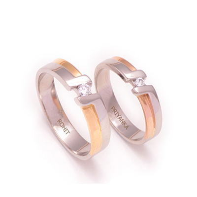 Sarovski Crystal RoseGold Platinum Couples Ring, platinum diamond wedding rings
