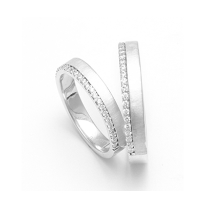 Personalized Curvy Platinum Couple Rings With Diamond, mens platinum wedding rings