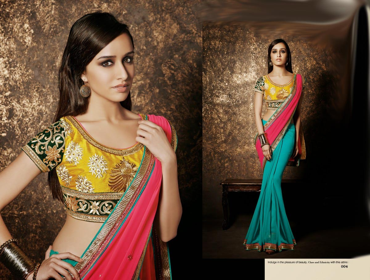 Saree Bollywood Indian Designer Sari Pakistani Wear Blouse Party Wedding AJ