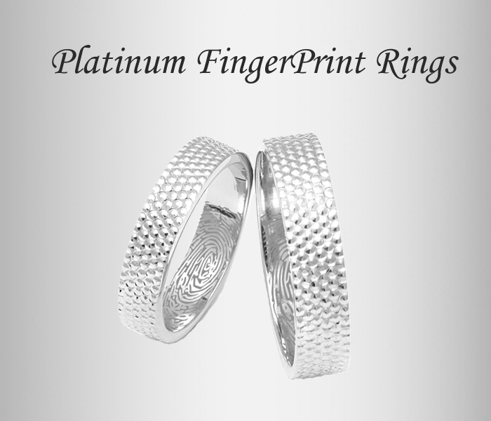 fingerprint platinum rings, platinum bands