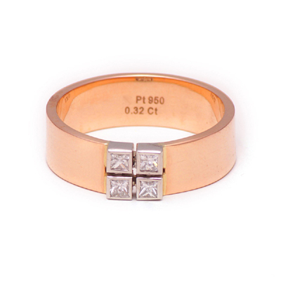 3D Printed RoseGold Platinum Wedding Ring, platinum chain price