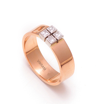 3D Printed RoseGold Platinum Wedding Ring, platinum earrings