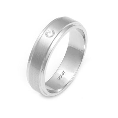 Brushed Finish Platinum Single Diamond Ring