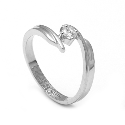Curvy Platinum Fingerprint Ring, platinum diamond wedding bands