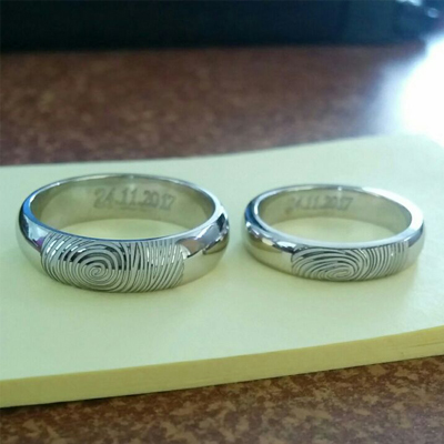 Fingerprint Platinum Rings For Wedding