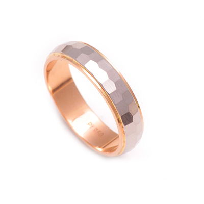Hammered Finish Platinum And Rose Gold Ring, mens platinum wedding bands