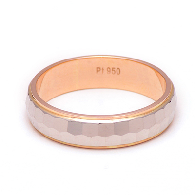 Hammered Finish Platinum And Rose Gold Ring, platinum rings for women