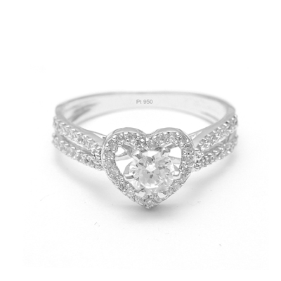 Heart Shaped Platinum Ring With Diamond, platinum bands for her