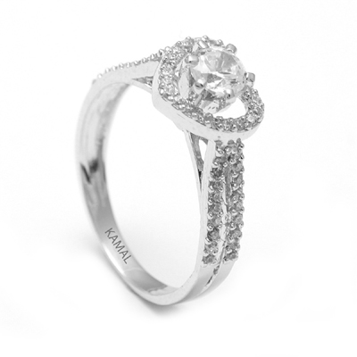 Heart Shaped Platinum Ring With Diamond, platinum band ring
