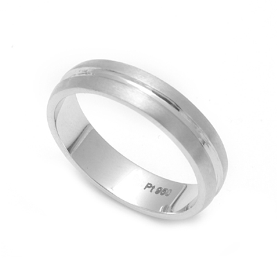 Matte Finish Platinum Fingerprint Rings, love bands