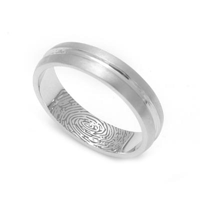 Matte Finish Platinum Fingerprint Rings, mens platinum wedding bands