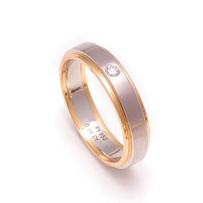 Matte Finish Platinum Gold Diamond Ring, platinum wedding bands for women