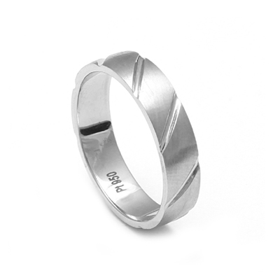 Men Platinum Wedding Ring With Parallel Cut