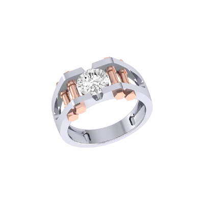 Platinum And Rose Gold Two Tone Ring For Men