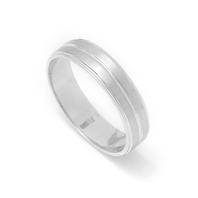 Platinum Fingerprint Ring With Brushed Inlay, mens platinum wedding rings