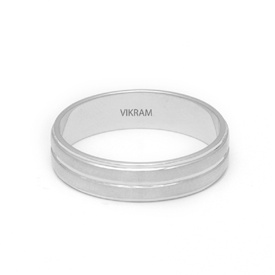 Matte Finish Platinum Fingerprint Rings, platinum bands