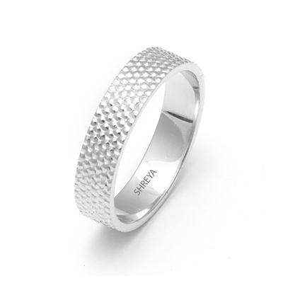 Platinum Wedding Ring For Men With Fingerprint