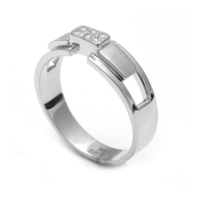 Platinum Wedding Ring With Raised diamond