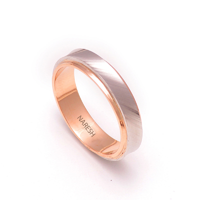 Rose Gold Wedding Ring With Platinum Inlay, platinum rings for couples