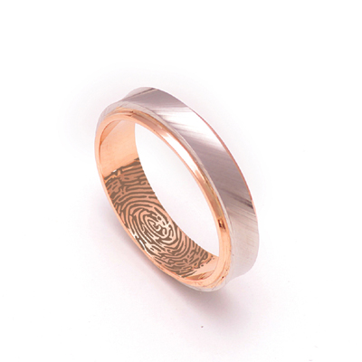 Rose Gold Wedding Ring With Platinum Inlay, love band ring