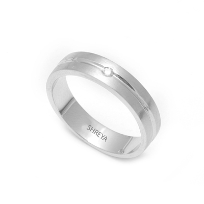 Shiny Platinum Diamond Fingerprint Ring, platinum bands for her