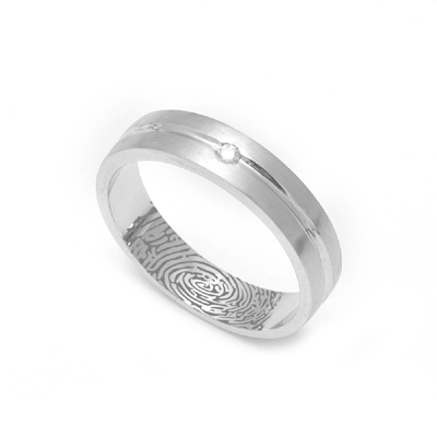 Shiny Platinum Diamond Fingerprint Ring, platinum band ring