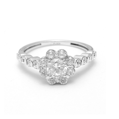 Simple Platinum Flower Rings For Women, platinum bands for couple
