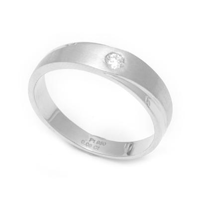 Single Stone Unique Texture Platinum Ring