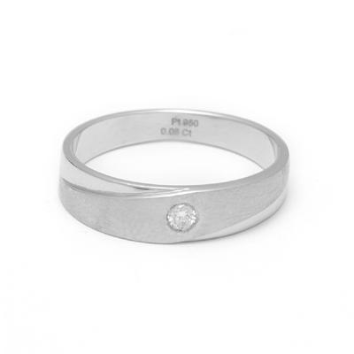 Single Stone Unique Texture Platinum Ring, platinum bands for her