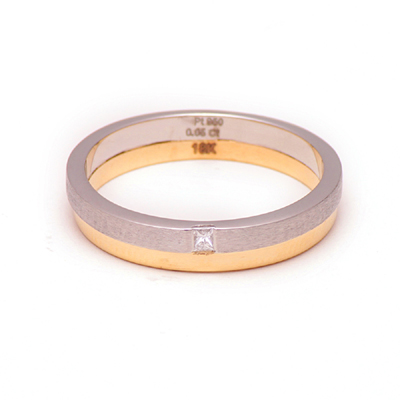 Two Layer Platinum Gold Diamond Ring, platinum bands for couple