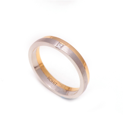 Two Layer Platinum Gold Diamond Ring, platinum bands for her