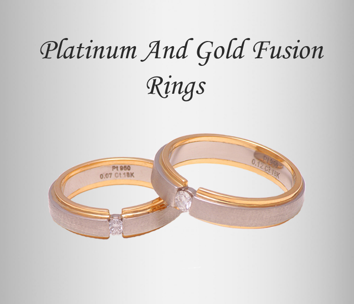platinum and gold fusion ring, platinum wedding bands for women