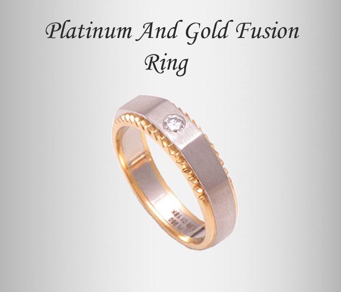 platinum yellowgold fusion ring, platinum jewellery