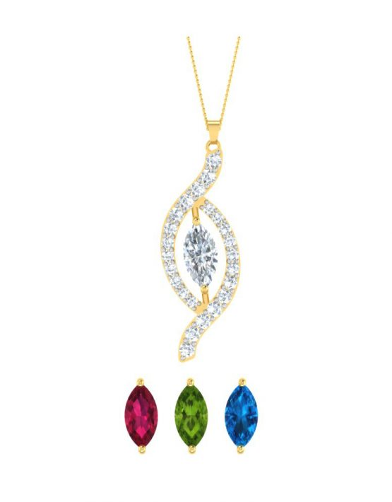 Changeable Leaf Pendant WIth Gemstones
