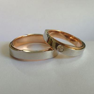 FingerPrint RoseGold And Platinum Fusion Ring, platinum diamond rings