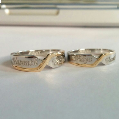 Personalized Platinum Couples Fusion Ring, platinum wedding bands
