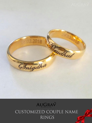 Custom Platinum Couple Rings Gold Couple Rings Name Engraved