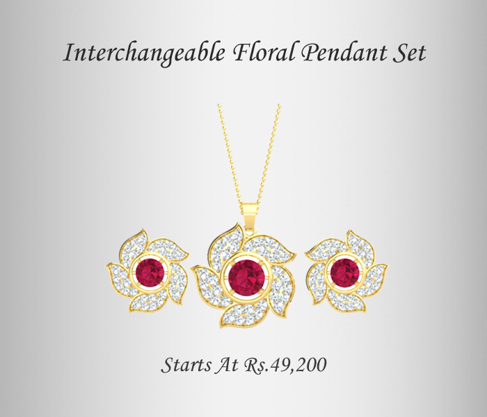 Floral Interchangeable diamond pendant set
