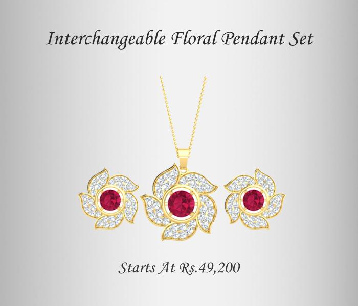 Floral Interchangeable diamond pendant set