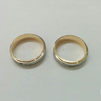 platinum and yellow gold fusion ring for men, platinum fusion rings