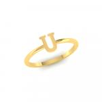 U Initial Ring 18K Gold