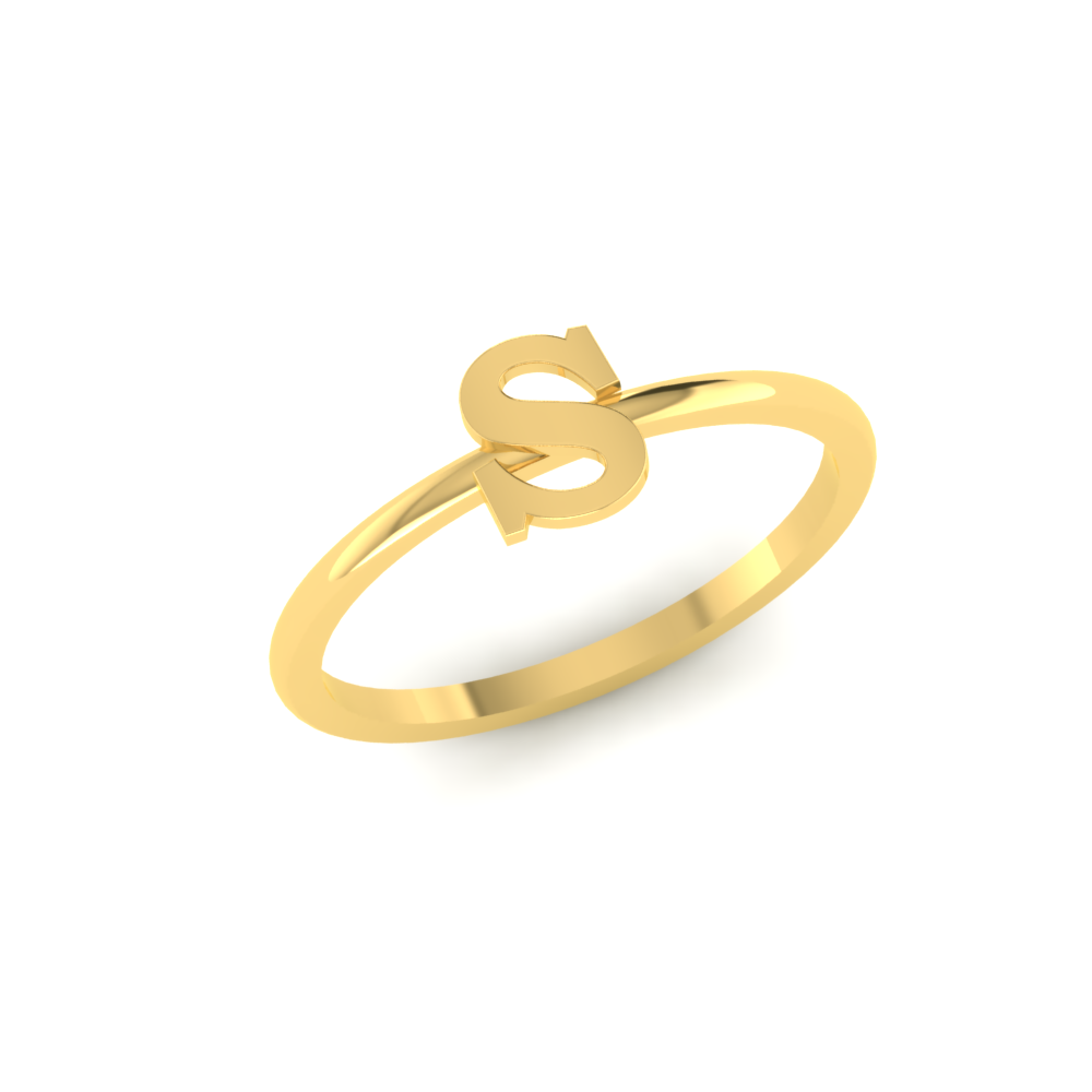s letter gold ring design
