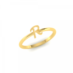 R Initial Ring 14K Gold, Letter R Gold Ring