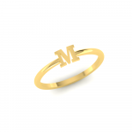 M Initial Ring 18K Gold, Letter M Gold Ring